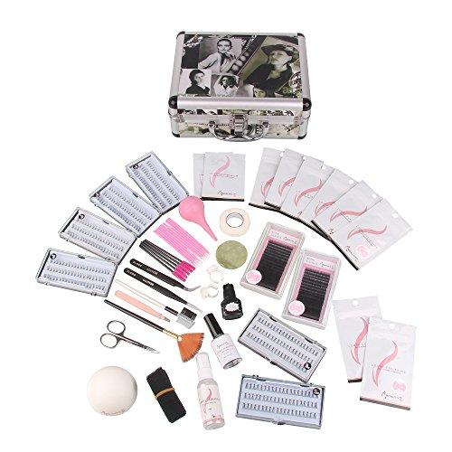 Beauty7 Faux Cils Individuels Natural Magnétique Kits Case Avec Outils Extension de cils en Soie Collle Pince Bande Brosse Faux cils