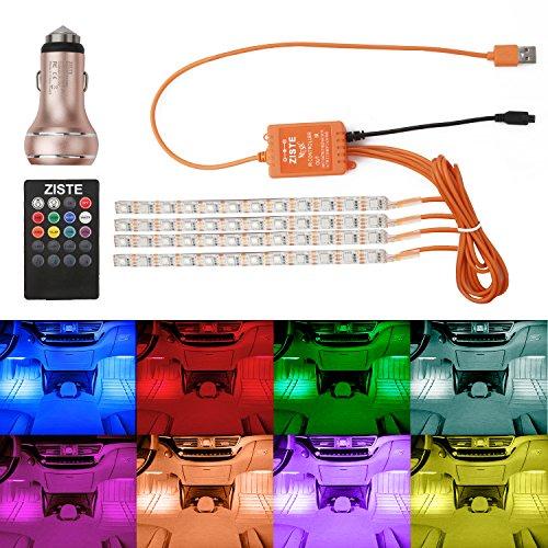 Preisvergleich Produktbild ZISTE LED Streifen Auto 4-teiliges Ultra-hell Innenraumbeleuchtung Lichtleiste mehrfarbliche LED Leuchten für Innenräume Kit Set mit Sound Active Funktion und kabelloser Fernbedienung,Dual-USB-Port Autoladegerät