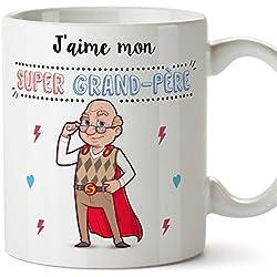Mugffins Papi Tasse/Mug - J'aime Mon Super Grand-Père - Tasse Originale/Idee Fête des Pères/Cadeau Anniversaire/Future Papi. Céramique 350 ML