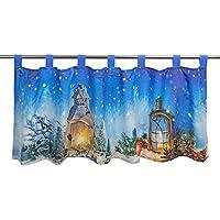 Visillo LED SUEÑO DE INVIERNO para cocina y dormitorio / Cortina de bar iluminada / 45x120 cm / Cortina moderna y transparente para Navidad