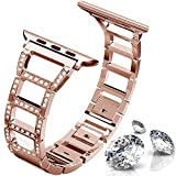 ITSHINY Replacement for Apple Watch Armband 42/44mm,Damen Metall Band für Iwatch Series 4 3 2 1(42/44mm, Rose Gold)