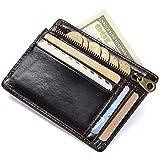 HASAGEI Tarjetero Hombre Cartera Hombre Pequeña de Cuero Tarjeteros para Tarjetas de Crédito RFID Monedero para Mujer u Hombre (Marrón)