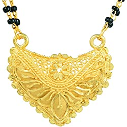 Memoir Gold plated Heartshape plain pure Gold look high polish Mangalsutra Tanmaniya Thali jewellery necklace for Women