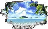 DesFoli Palmen Beach Strand Meer 3D Look Wandtattoo 70 x 115 cm Wanddurchbruch Wandbild Sticker Aufkleber C083