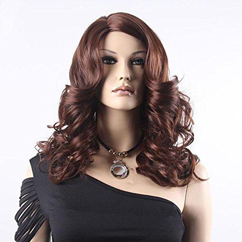 für Erwachsene OOARGE Perücke Fake Haare in der langen weiblichen Schal lockige große Welle schräg (Fake Kurze Bart)