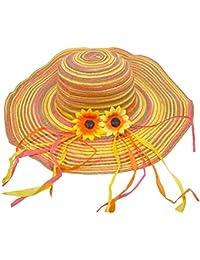 """Strohhut mit Sonnenblumen """"Small Flower"""" - Rosa Gelb - Damen Hut zum Hippie Kostüm, für Party und Strand"""
