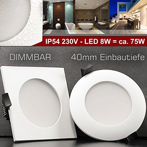 EXTRA FLACHE (40mm) 230V Decken Einbauleuchte ATLANTICO IP54 Weiß LED 8W = 75W dimmbar rund Warm-Weiß 40mm Einbautiefe Einbaustrahler Panel Bad Feuchtraum (Dusche) Außenbereiche und alle Wohnräume