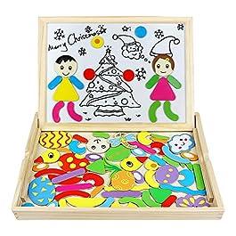 yx toys Lavagna Magnetici Puzzle di Legno Giocattoli A Due Lati del Tavolo da Disegno per Ragazzi e Ragazze Compleanno Natale