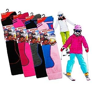 Kinder Thermo Hochleistung Skisocken mit zusätzlichen Dämpfung 12-3 3er Pack (Girls)