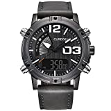 WMWMY Herren Sport Uhr Dual Display Analog Digital LED Elektronische Quarz Military Watch Wasserdicht Schwimmen Sehen, Schwarz