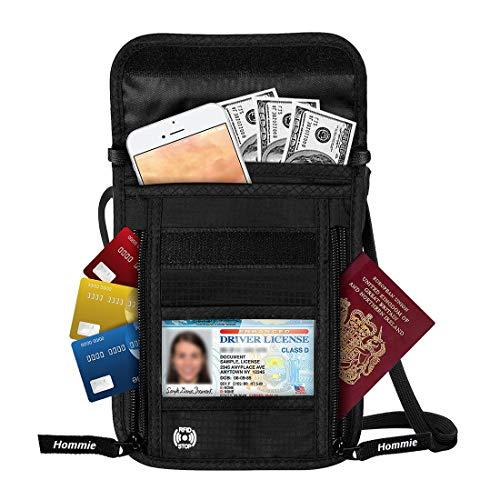 Brustbeutel, Brusttasche für Damen und Herren, mehrfunktionaler Beutel Wasserdichte Umhängetasche, RFID Diebstahlschutz wasserabweisend für Dienstreise, schwarz von Hommie