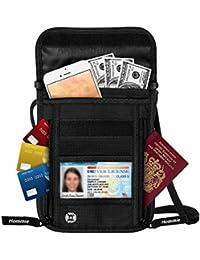Portadocumentos Cuello Impermeable para Viajescon Bloqueo RFID 7 Bolsillos, Hommie Organizador Viaje Documentos para Pasaportes Billetes Movil Etc para Mujeres, Hombres y Niños