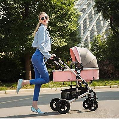 XYL Cochecito Doble Plegable para niños/bebés niño niña combinación de Canasta de Almacenamiento Grande cinturón de Seguridad de Cinco Puntos Cochecito Grande Cochecito cómodo