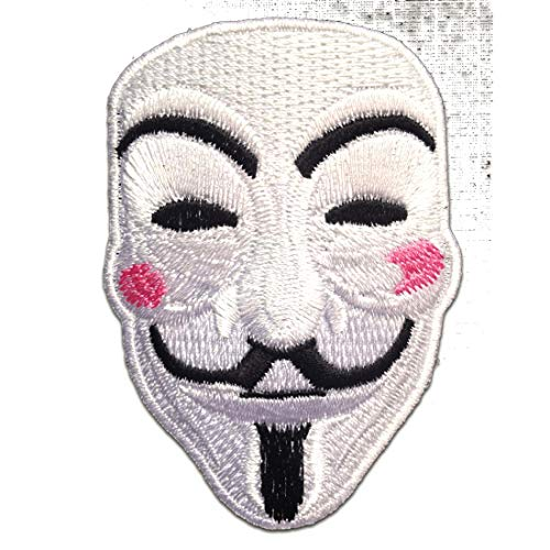 Aufnäher/Bügelbild - V For VENDETTA Anonymous - weiß - 5.5 x 7.6 cm - Patch Aufbügler Applikationen zum aufbügeln Applikation Patches Flicken (V For Vendetta Kaufen)