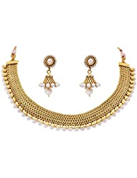 Meenaz Jewellery Gold Plated Jewellery Set With Ear Rings Traditional One Gram Copper Pearl Necklace Set Earrings...