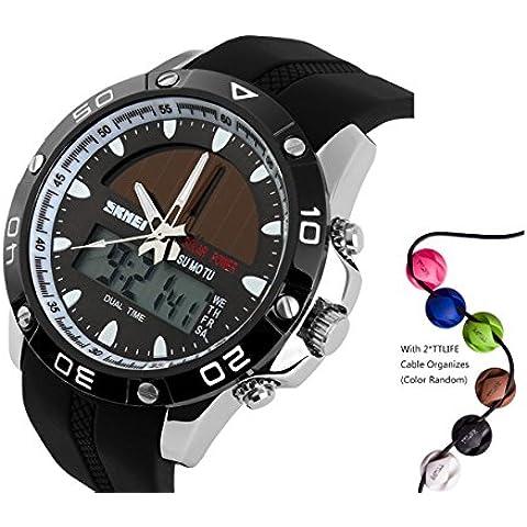 TTLIFE 1064 Hombres pantalla multifunción de cuarzo solar al aire libre analógico-digital reloj deportivo a prueba de agua
