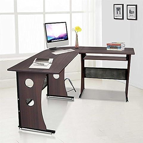 tinkertonk Dark Brown Corner Desk L Shaped Computer Workstation with Sliding Keyboard Tray Home Office Study Room
