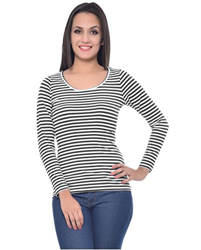 Smartees Black & White Color Lycra & Polyester Full Sleeves Striped Top