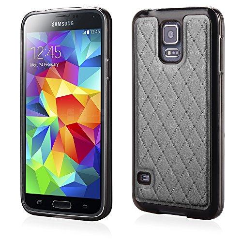 Stylische TPU Silikon Handy Back Case Schutz Hülle schwarz mit trendiger Kunstleder Rückseite für