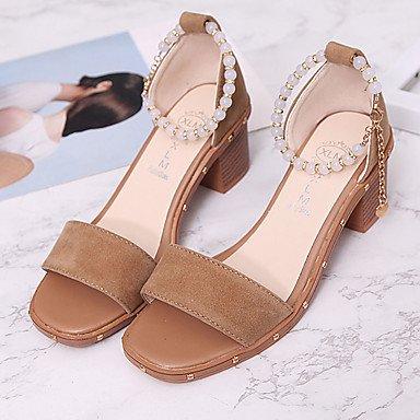 LvYuan Da donna Sandali Scamosciato Estate Footing Perle Heel di blocco Nero Marrone 5 - 7 cm Black