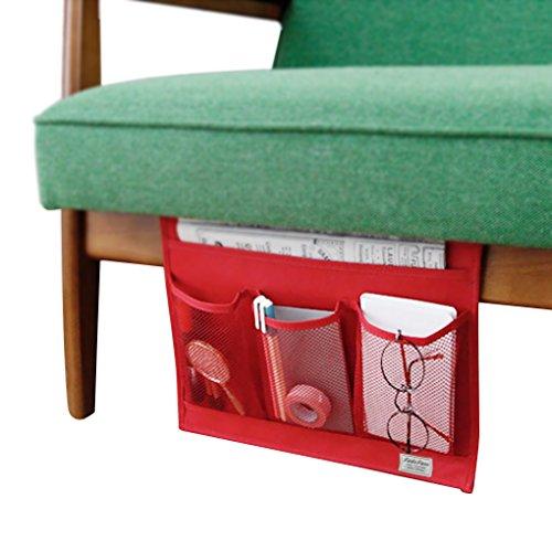 Comodini Storage Materasso libro Tv Remote Caddy, Dorm Room iPad iPhone Custodia rivista Caddy Organizzatore Tasche divano letto Tidy Hanging Borsa Computer tasche per letti a soppalco 4 Pockets-Red rosso