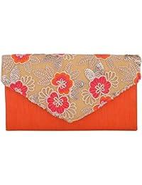 Arisha Kreation Co Raw Silk Orange Color Envelope Clutch
