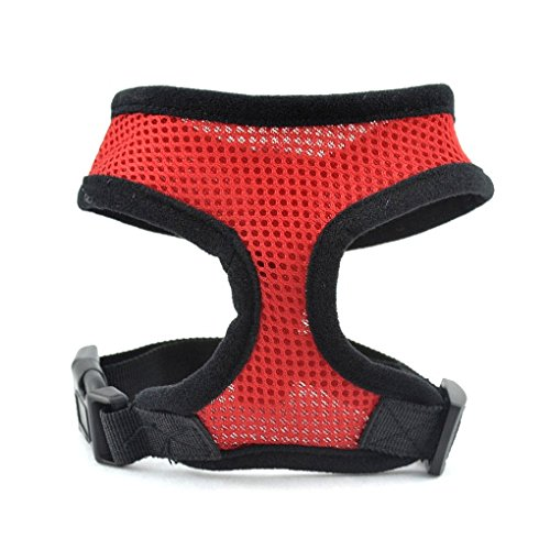 LUFA Pet Dog Safety Harness Easy Control Mesh Vest Leash Chest Straps Belt Red & XS Test