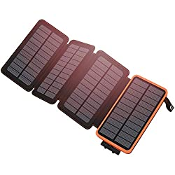 Hiluckey Solar Charger 25000mAh Waterproof Power Bank with Dual USB 2.1A Output Portable Battery Pack Phone Chargers for iPhone, Samsung, ipad and Smartphone Outdoor Camping Hiking