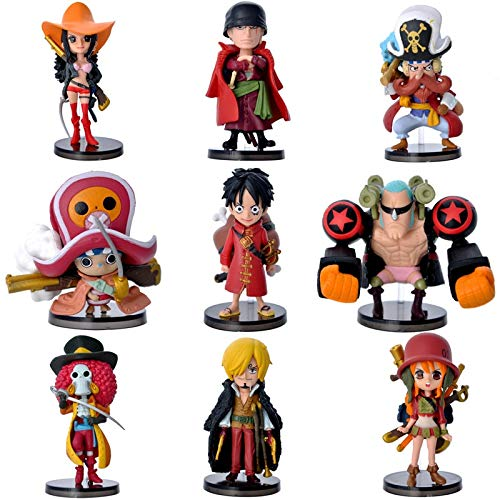 DADATU 9 Unids/Set Anime One Piece Mini Luffy Roronoa Zoro Sanji Chopper Franky Nami...