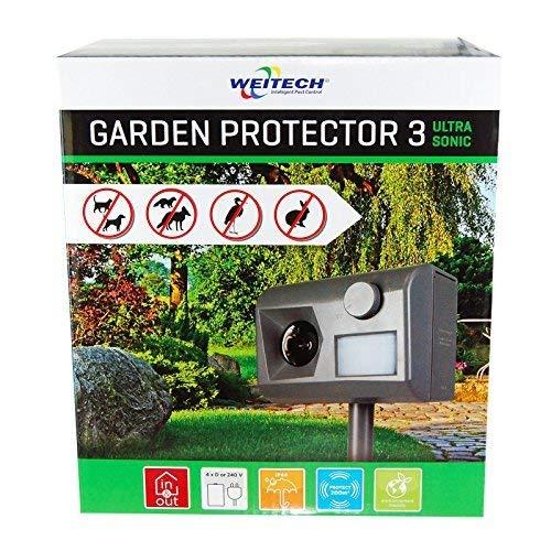 Weitech WK0055 Garden Protector 3 - Ultraschall Vertreiber gegen Katzen, Hunde, Füchse, Marder, Kaninchen, Reiher