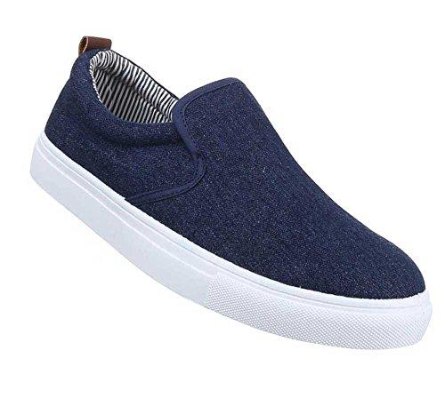 Herren-Schuhe Schnürschuhe | moderne Halbschuhe in verschiedenen Farben und Größen | Schuhcity24 | Slipper in Jeansoptik Dunkelblau