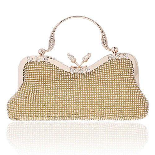 Damara® Damen Schimmert Crystal Clutch Elegant Abendtaschen Gold