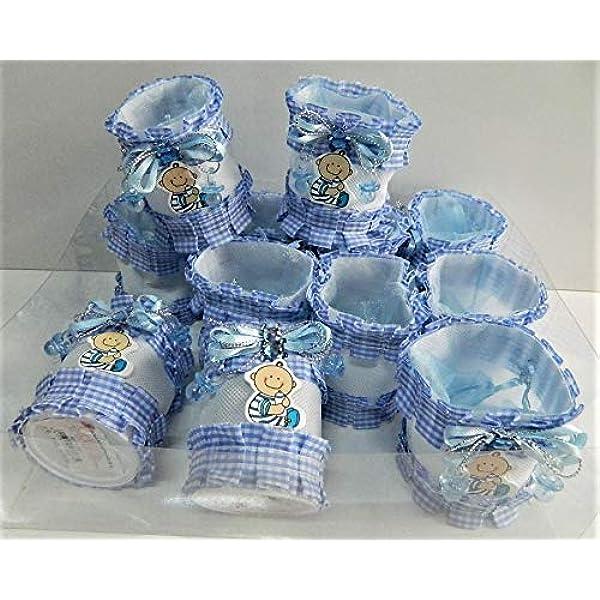 Gaetooely 24x Bote a Dragees biberon 4x9cm Strass Ours Bleu Cadeau faveur bonbonniere Gar on Bapteme