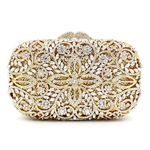 Qingbaotongzhuang Fein Gearbeitete Metallkette Durchbrochene Strasssteine   und Diamanten Platz Bankett Abendessen Tasche Armband Hochzeitsgeschenk Braut Kleid Clutch Bag Schultertasche Damen Ge Ge Fiber