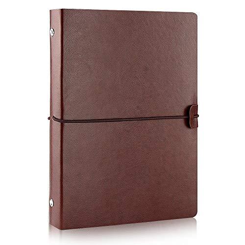 VEESUN A5 Notizbuch Leder Reise Tagebuch Nachfüllbar Leer Buch zum Selber Gestalten Blanko...