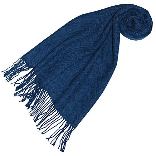 LORENZO CANA Luxus Damen Schal Schaltuch aus der feinsten Alpakawolle von der ersten Schur 100% Alpaka Alpakaschal flauschig weich, Blau Royalblau, 30 x 180 cm -