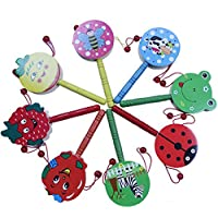 OneCreation Set di 5-Agitatore di sonaglio, Campana per tamburo a mano in legno, strumenti musicali giocattolo per regalo di Natale, colori assortiti