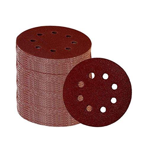 SODIAL 60 Stueck 8 Loecher 5 Zoll Schleifscheiben Klett 60/100/180/240/320/400 Schleifpapier Sortiment fuer zufaellige Orbitalschleifer