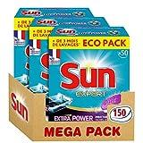 Sun Tablettes Lave-Vaisselle Tout-En-1 Expert Power 150 Lavages (Lot de 3x50 Lavages)