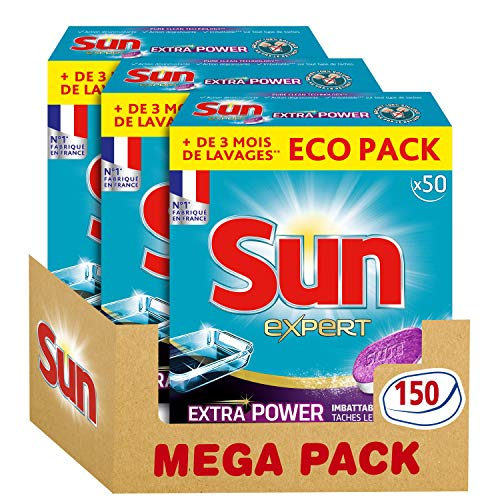 Sun Tablettes Lave-Vaisselle Tout en 1 Expert Power 150 Lavages (Lot de 3x50 Lavages)