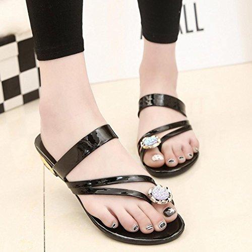 DM&Y 2017 Coreano moda clip colore solido piedi con sandali piatti sandali di cristallo dei sandali casuale Silver