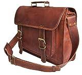 """18"""" Fatto a mano Alta qualità vera vintage Distressed pelle tracolla Notebook messenger ufficio computer portatile valigetta corpo trasversale borsa college per gli uomini donne"""