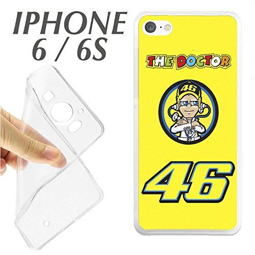 carcasaschulas Schutzhülle + Displayschutz aus Glas (optisch) für iPhone 6 6S The Doctor Valentino Rossi 46 MOTOREN K148