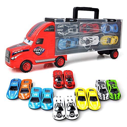 ortfahrzeug Autotransporter Tragegriff mit 12 Rennautos Spielzeug Perfektes Geschenk für Jungen (Rot) ()