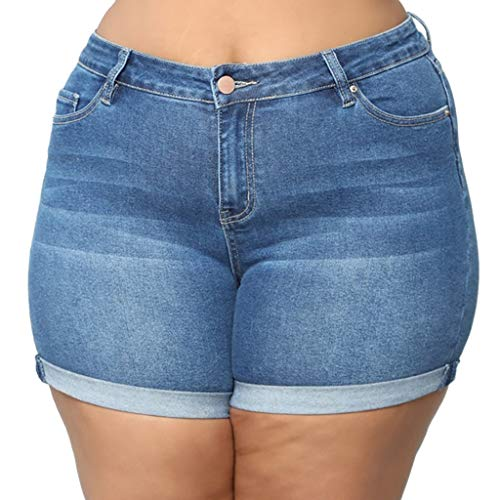 NPRADLA Damen Capri Breathable Sommer Kurze Jeans Skinny Hipster Lässige Ripped Hollow Denim Pockets Cowboy Pants Damen Hot Shorts(5XL,Blau-2) -