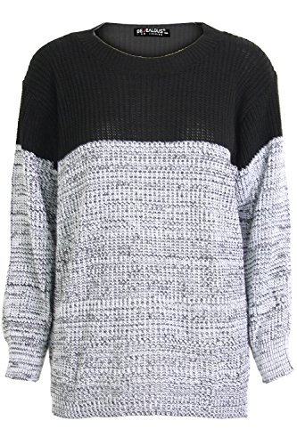 Womens Ladies Chunky Knitted Contrast Block Long Sleeves Round Neck Baggy Oversized Pullover Warm Jumper Sweater Top UK Sizes 8-22 Test