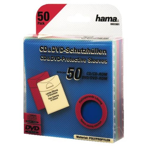 Hama Leerhüllen (CD-/DVD-/Blu-ray, 50 Stück, Schutzhüllen im Slim-Design, Sleeve aus Kunststoff) farbig (Slim Dvd-hüllen Farbig)