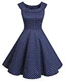 Bbonlinedress 1950er Vintage Retro U-Ausschnitt Rockabilly Cocktail Kleider Navy Small White Dot 3XL