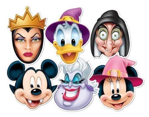 Mickey & Minnie Mouse Halloween Disney Villains Party Masken (6 Stück Packung