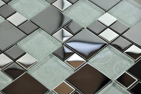 Metallic Modular Glass Mosaic. Chrome Gloss Black & Glass with Silver Detailing (Sample 15x7.5cm)